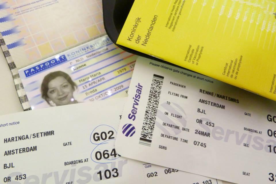 paspoort en tickets