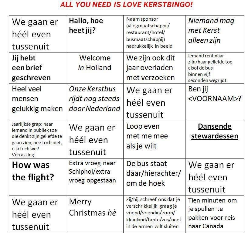 all you need is love kerstbingo