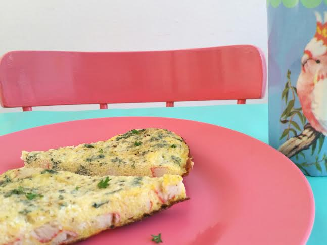 krab roomkaas omelet close up