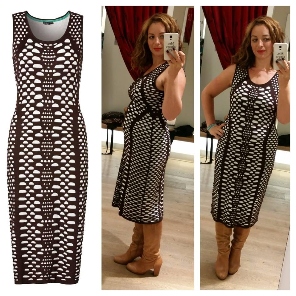 dc8d7436533376 Ik dacht werkelijk dat de print op deze gebreide jurk mijn ontzwangerende  figuur wat zou verbloemen