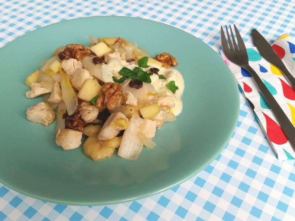 kip met witlof en walnoten