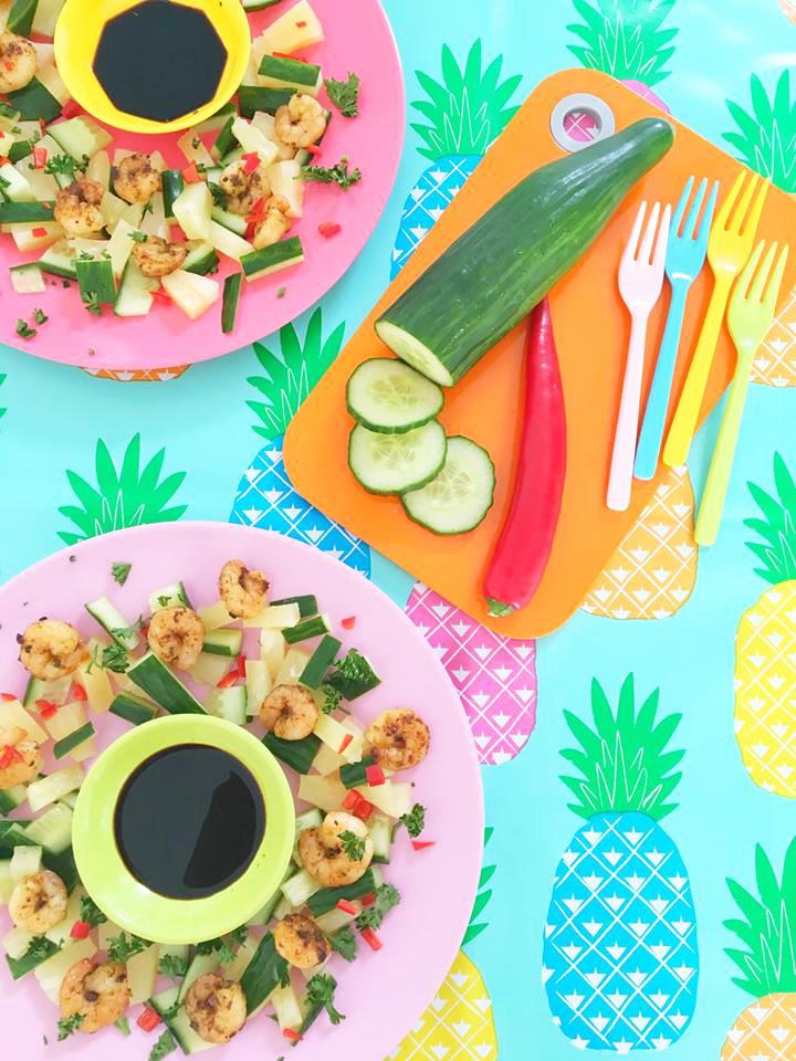 ananas-garnalen-komkommer