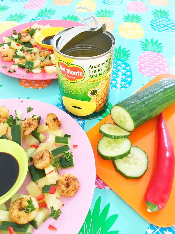 ananas-komkommer-garnalen-salade