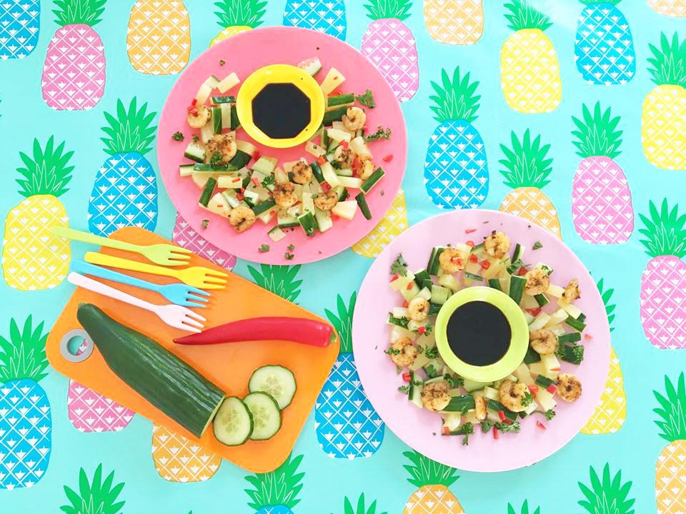 salade garnalen ananas en komkommer