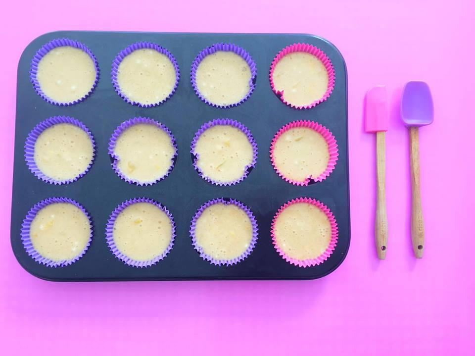 perzikcupcakes in bakblik