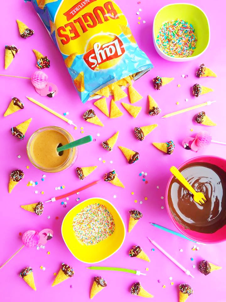 bugles-pindakaas-chocolade-sprinkles