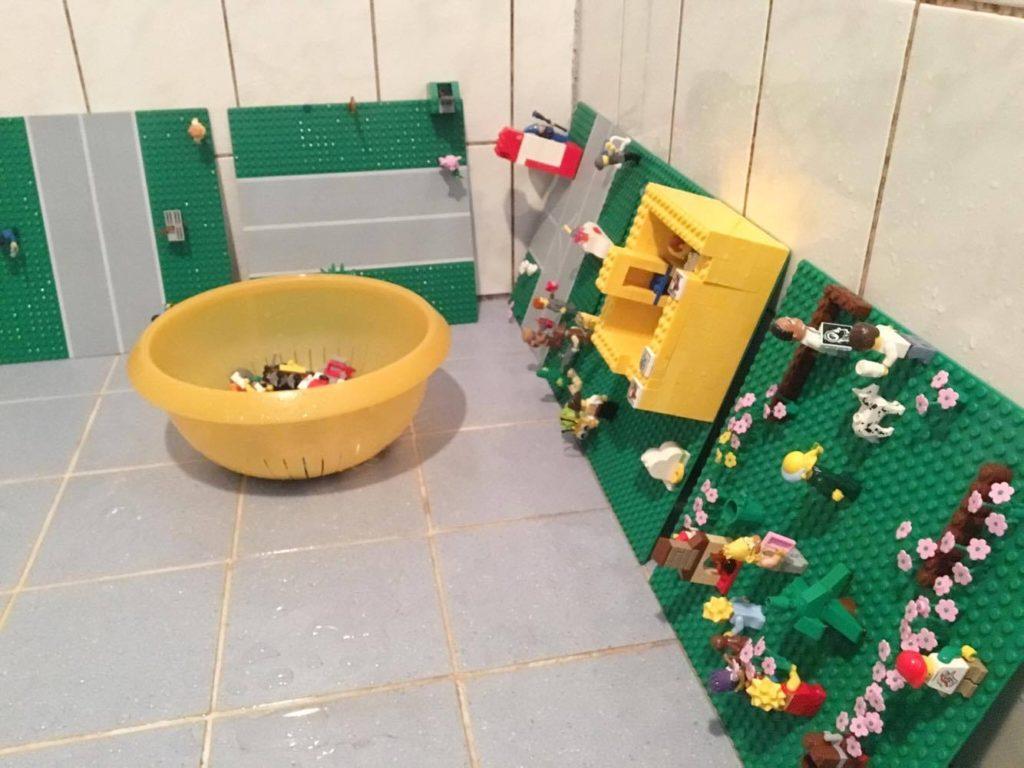 lego schoonmaken douche