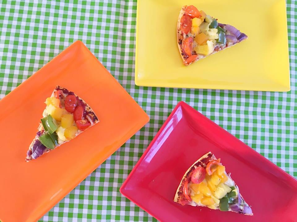 rainbow pizza slices