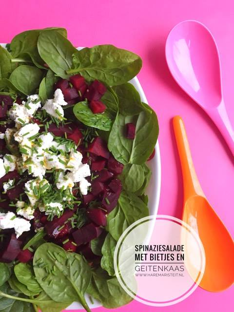spinaziesalade met bietjes en geitenkaas