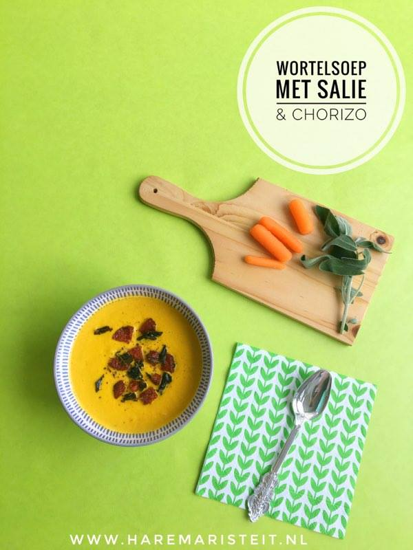 wortelsoep met salie en chorizo