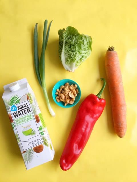 Salade van wortel, puntpaprika & cashewnoten