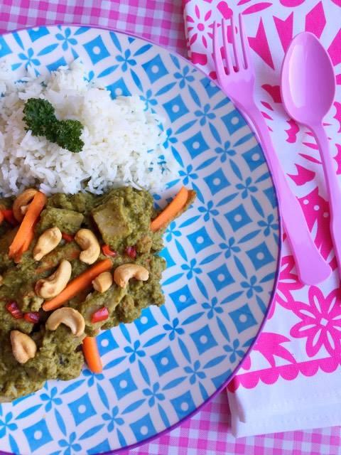 Curry van Courgette en spinazie met vegakip