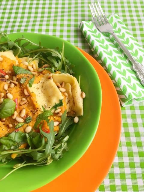 Ravioli met Pastasaus van Pompoen & Chili