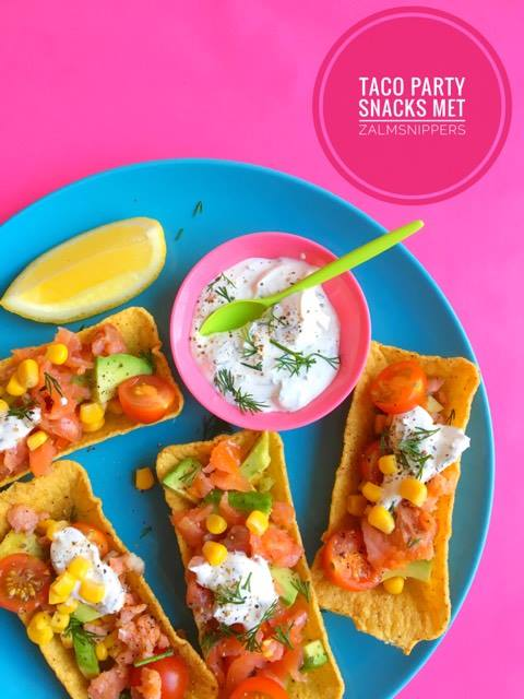 taco party snacks met zalmsnippers