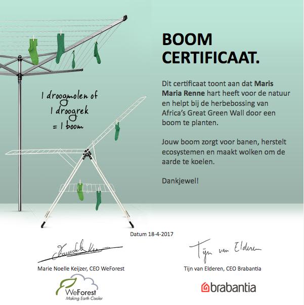 Brabantia Boom Certificaat