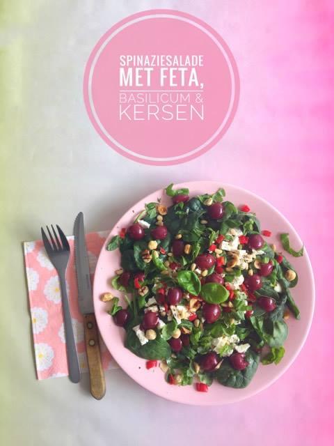 spinaziesalade met feta basilicum kersen