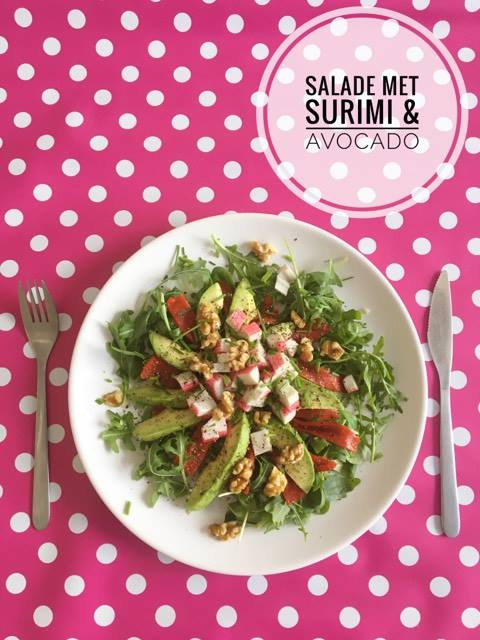 salade surimi avocado walnoten