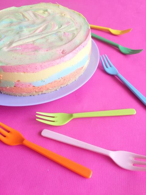 no bake unicorn rainbow cake