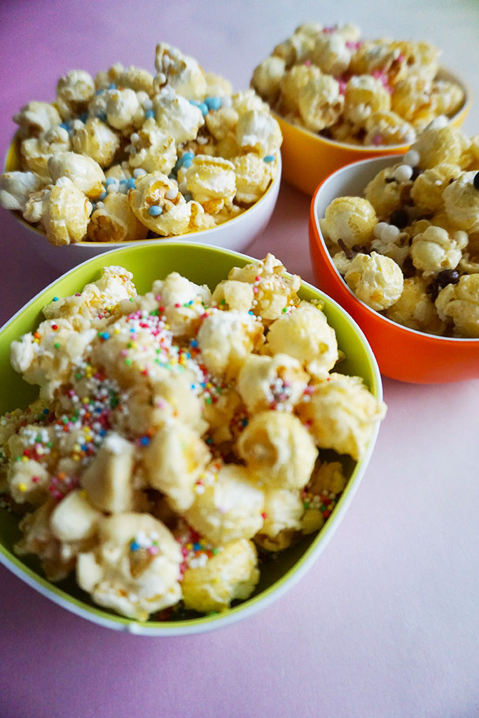 party popcorn chocolade sprinkles