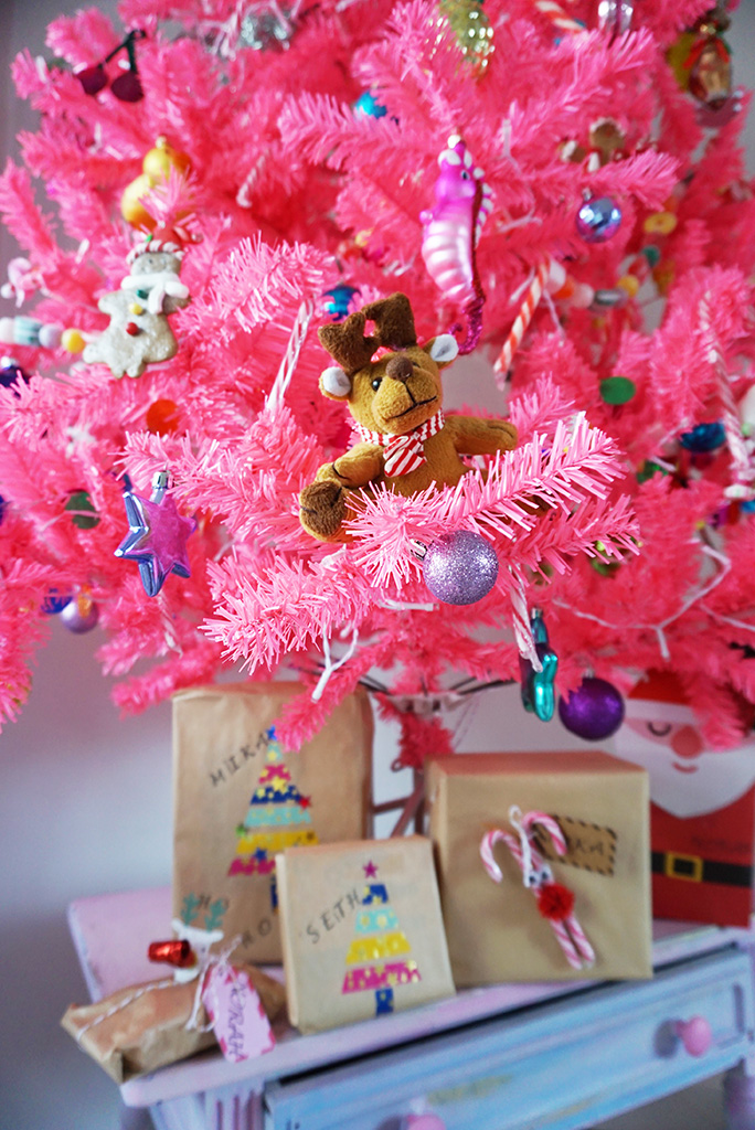 roze kerstboom