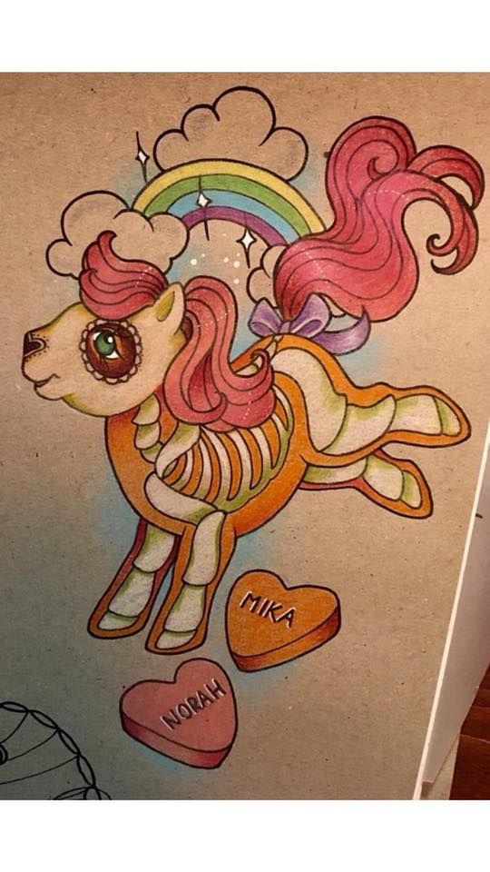 my little pony tattoo dia de los muertos