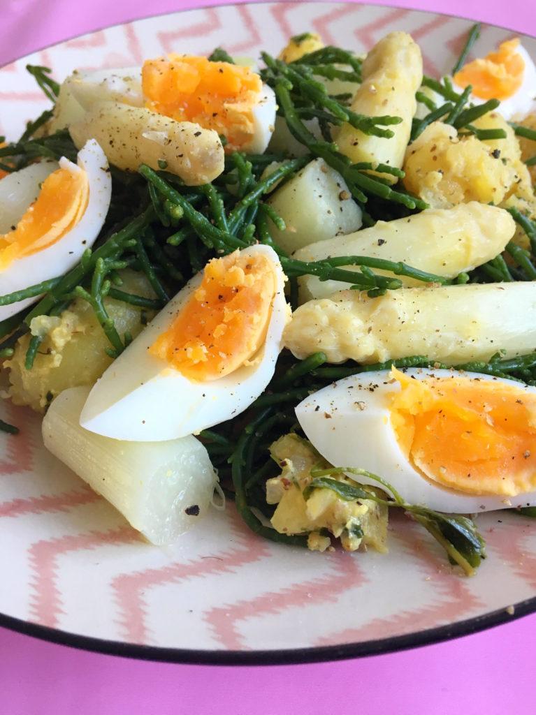 Asperges met Mosterd-aardappeltjes & Zeekraal