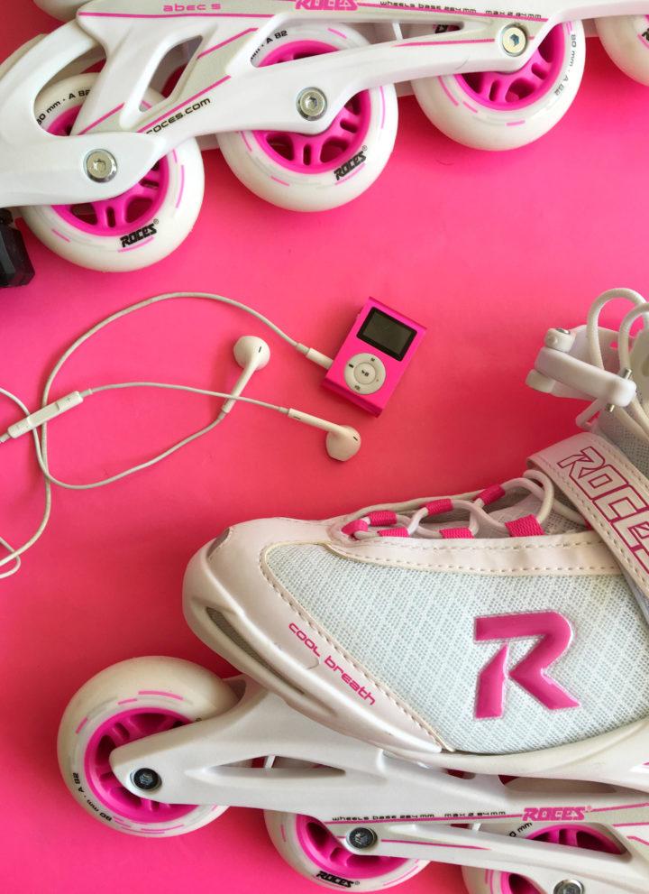 Ik kocht roze Inline Skates