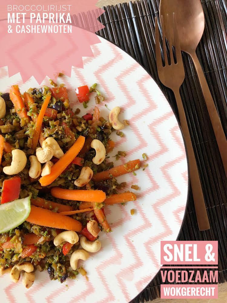 broccolirijst met paprika en cashewnoten