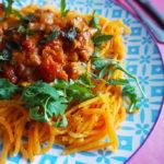 Vega & Skinny Pompoenspaghetti Tikka Massala