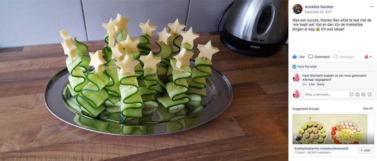 kerstboompje komkommer kaas