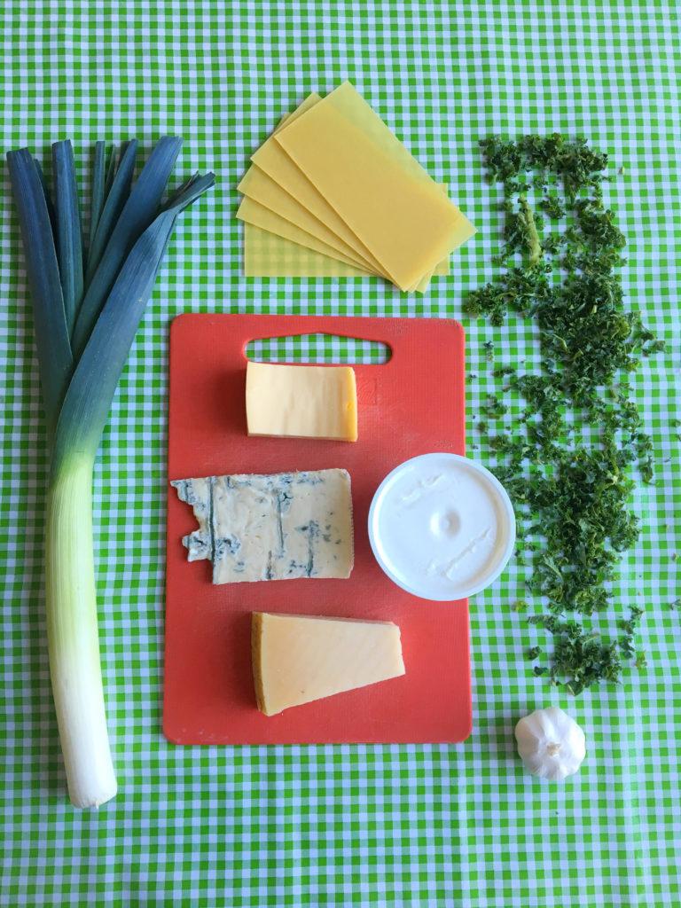 boerenkoollasagne met 4 soorten kaas en noten